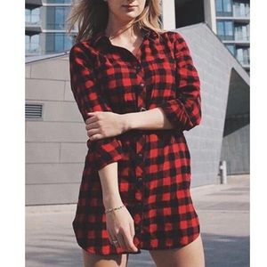 Red checkered tunic / dress size small